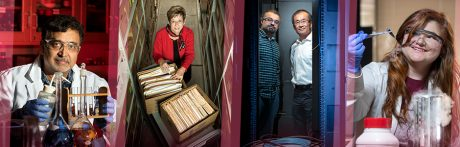 Four photos of researchers: chemistry professor Dr. Tito Viswanathan working in a lab; associate provost Deborah Baldwin with an historical archive of Vic Snyder's papers; systems engineering faculty Tolgahan Cakaloglu and Xiaowei Xu standing in a server room; and Gilman scholar Erica Olson working in a chemistry lab.