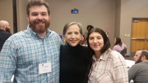 Dr. Caleb James and Writing Center Tutor Kristena Merritt with Dr. Sally Crisp at SCWCA 2018