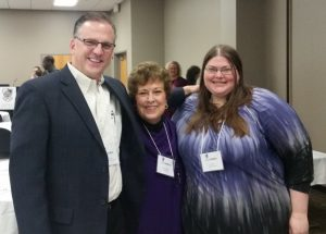 Dr. Allison Holland (center), UALR Writing Center Director with Amy Rhea, M.A. Student in Rhetoric and writing and Cole Bennett, Director of the Writing Center at Abilene Christian University (ACU) and Rhetoric and Writing Alum.