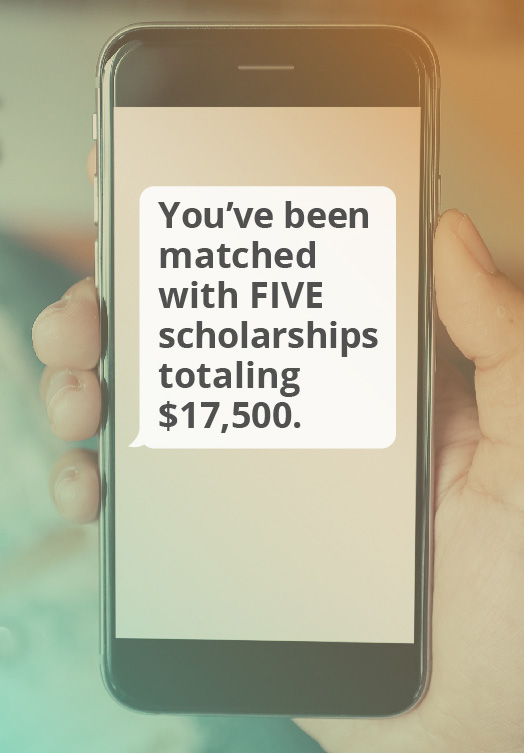 Phone showing a scholarship match of $17,500