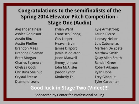 Elevator Pitch Contest - Stage One Semifinalists: