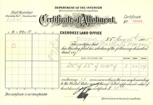 Certificate of Allotment - Martha L Morgan 08-26-1905
