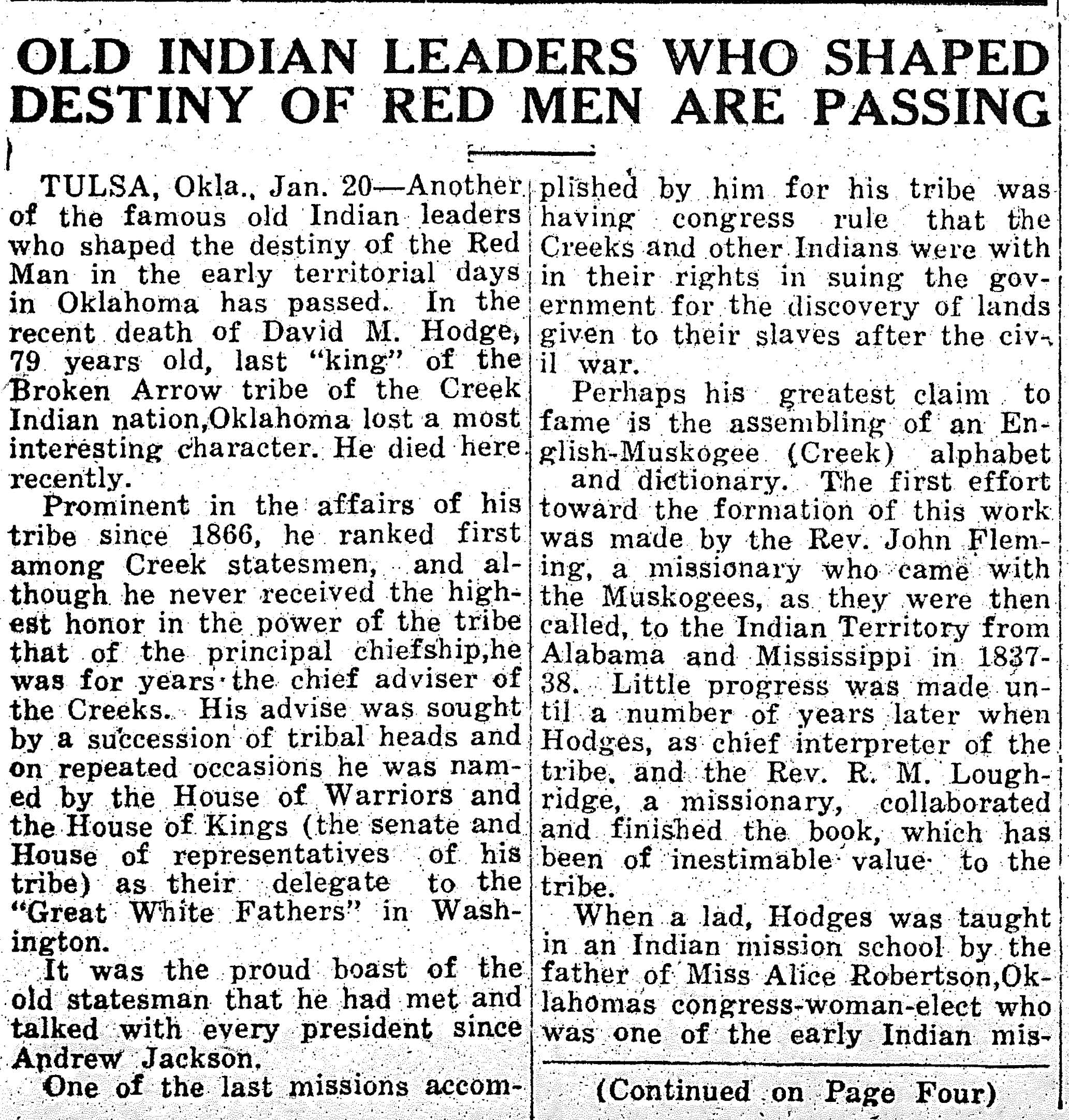 Old Indian Leaders who Shaped Destiny of Red Men are Passing
