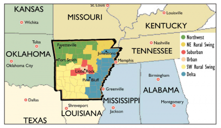 Arkansas shares the attributes of a number of different regions.