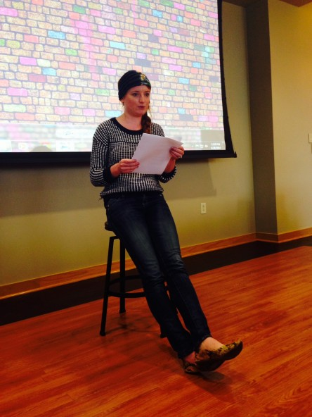 Ms. Rigg presenting her poem.