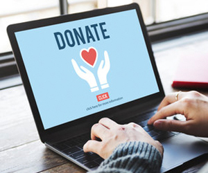 Person sitting at a laptop. The screen has the word donate.