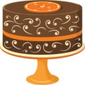 Chocolate cake on orange stand
