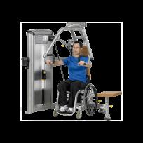Wheelchair user using exercise equipment