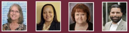 Images of Carolyn Wray, Kimberly Herron, Charlotte Beck, and Aresh Assadi