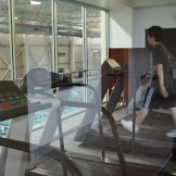 Treadmills overlooking pool