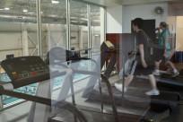 Treadmills overlooking pool