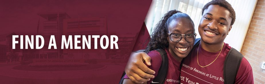 """Smiling students next to text that says, """"Find a Mentor."""""""