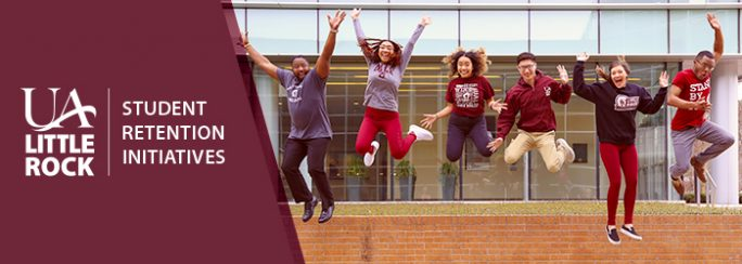 UA Little Rock Student Retention Initiatives logo next to a photo of students jumping in the air.