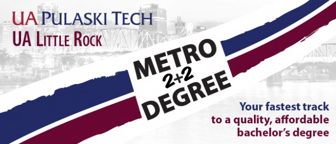 """An image with text that says, """"Metro 2+2 Degree. Your fastest track to a quality, affordable bachelor's degree."""" The background includes the UA Little Rock logo, the UA Pulaski Technical College logo, and a faded image of downtown Little Rock."""