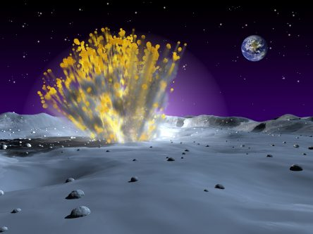 Artist rendering of the point of impact with spraying lunar material