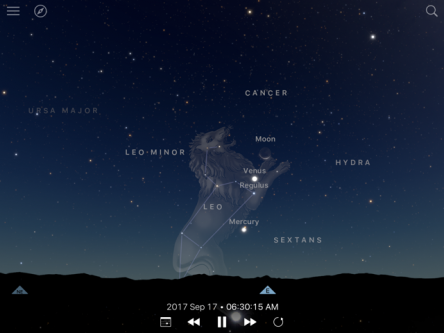 Graphic of Venus and Mercury aligned in the eastern sky