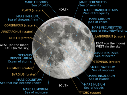 Image of Moon with thenames of all craters and seas