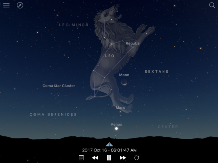 Image of Oct 16 the Moon, Mars and Venus in Leo