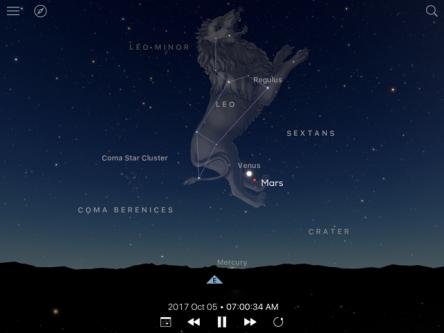 Image of Venus and Mars in eastern sky