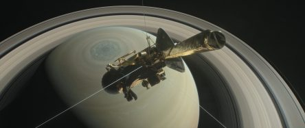Image of Cassini spacecraft with Saturn in background