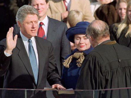 Image of President Clinton taking oath of office