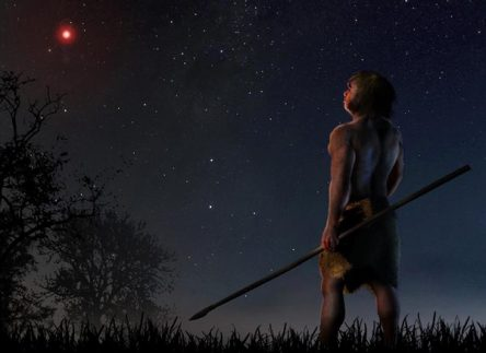 Painting of Early man with spear looking at sky