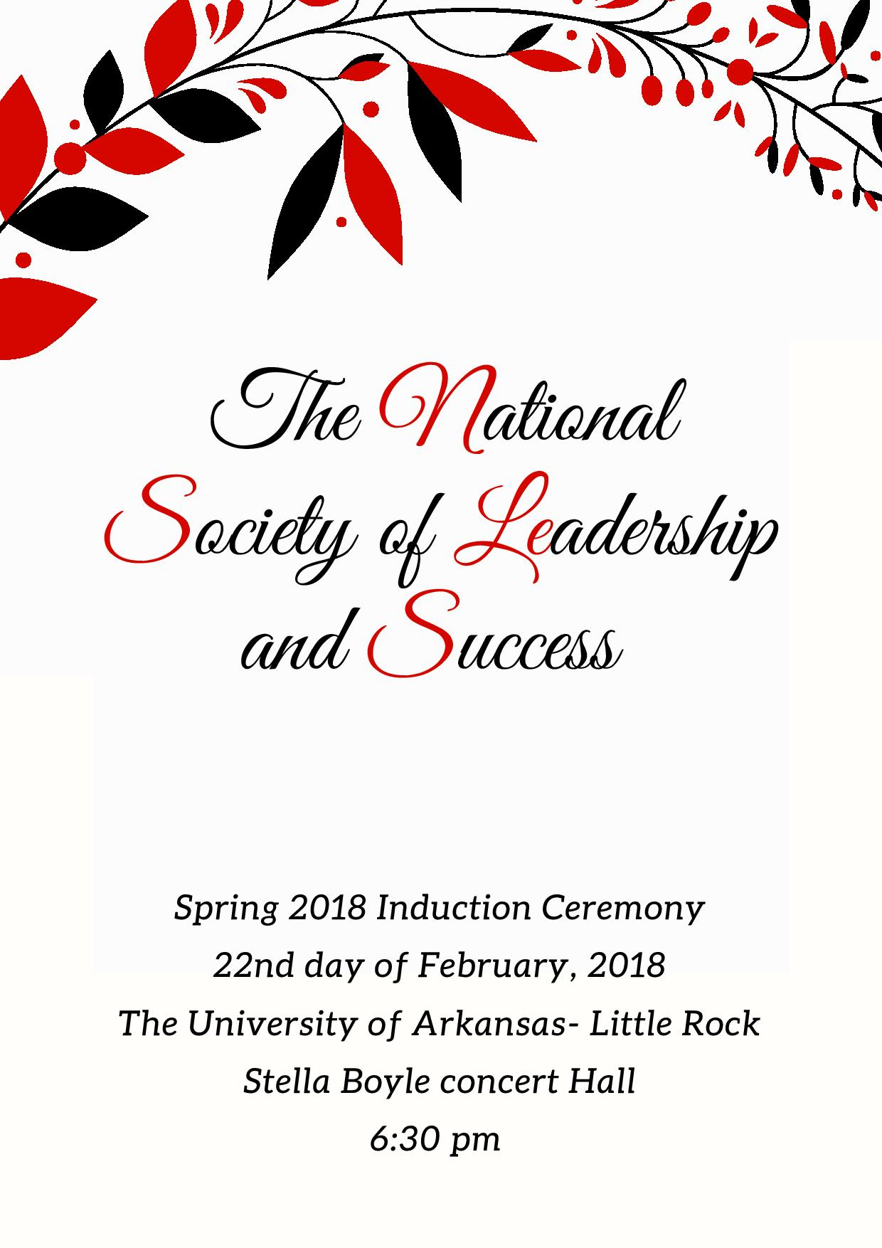 Induction ceremony the national society of leadership and success induction ceremony the national society of leadership and success ua little rock chapter stopboris Image collections